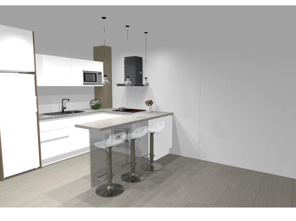 Reforma integral cocina, con mobiliario en blanco y encimera de silestone.