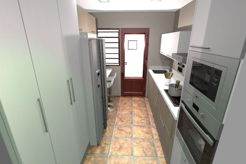 Diseño en blanco y madera.Reforma integral de la cocina.