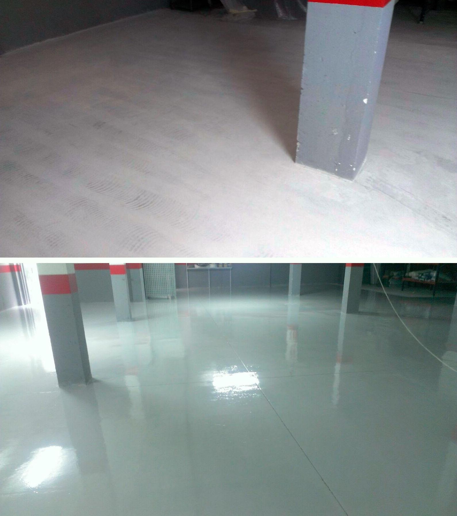Pintura de suelos con resina Epoxi (antes y después)