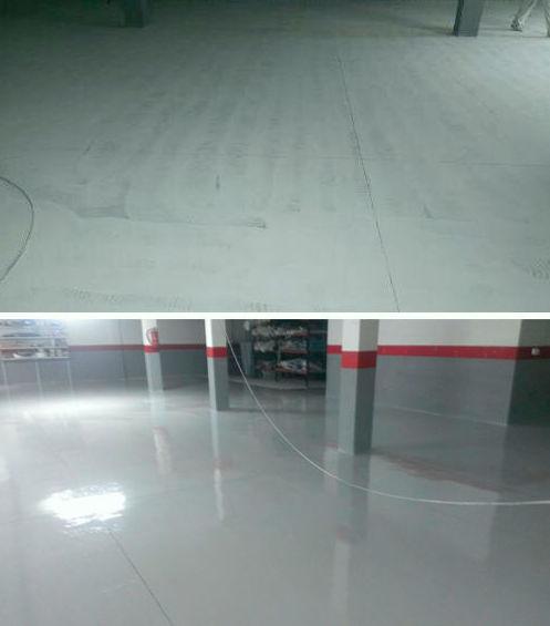 Pintura de suelos de garaje con pintura Epoxi (antes y después)