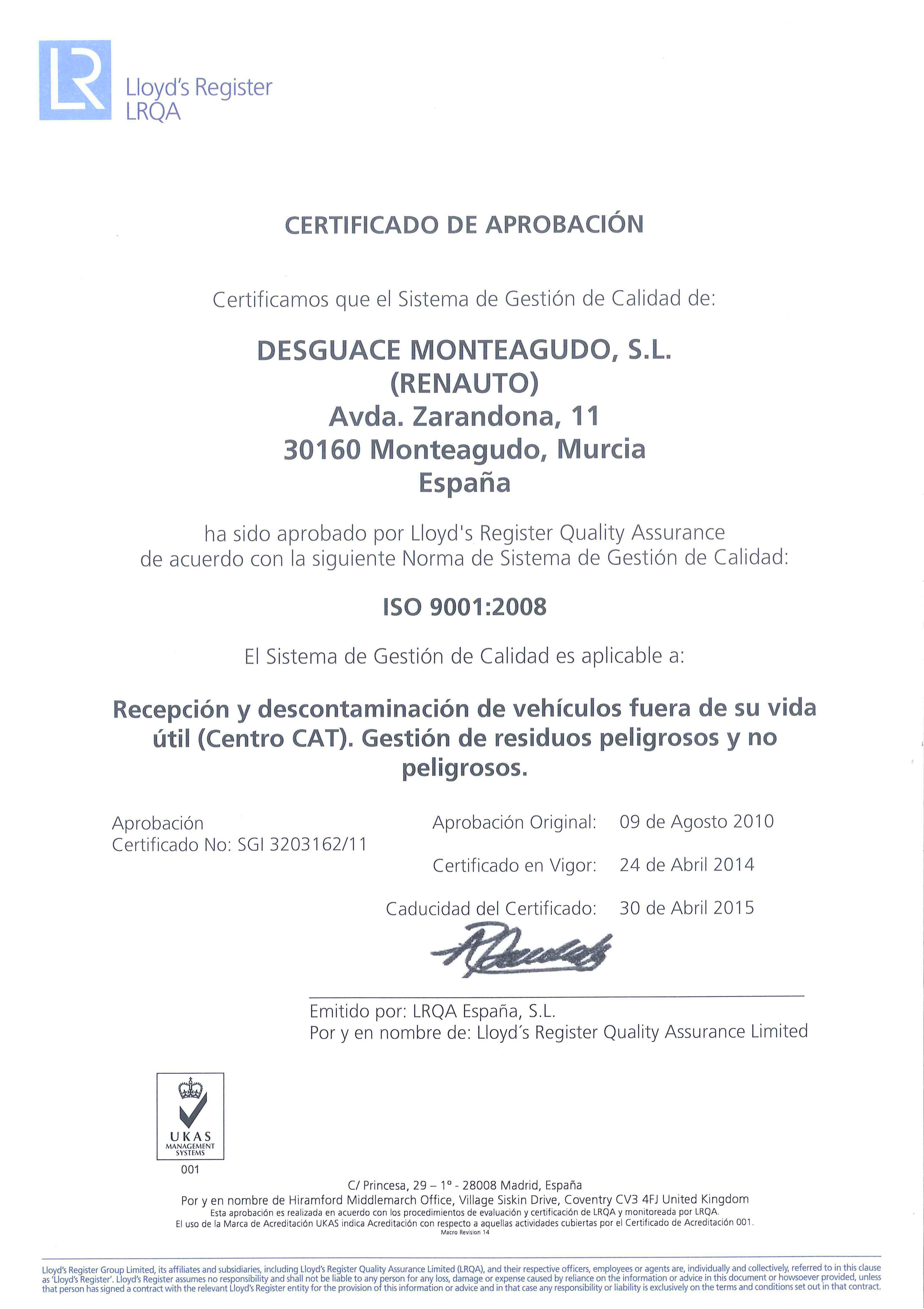 Certificado de Aprobación ISO 9001:2008