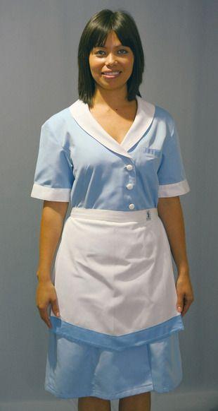 Ref. S11. Bata azul con delantal blanco y borde azul: Catálogo de Del Rey Exclusivas
