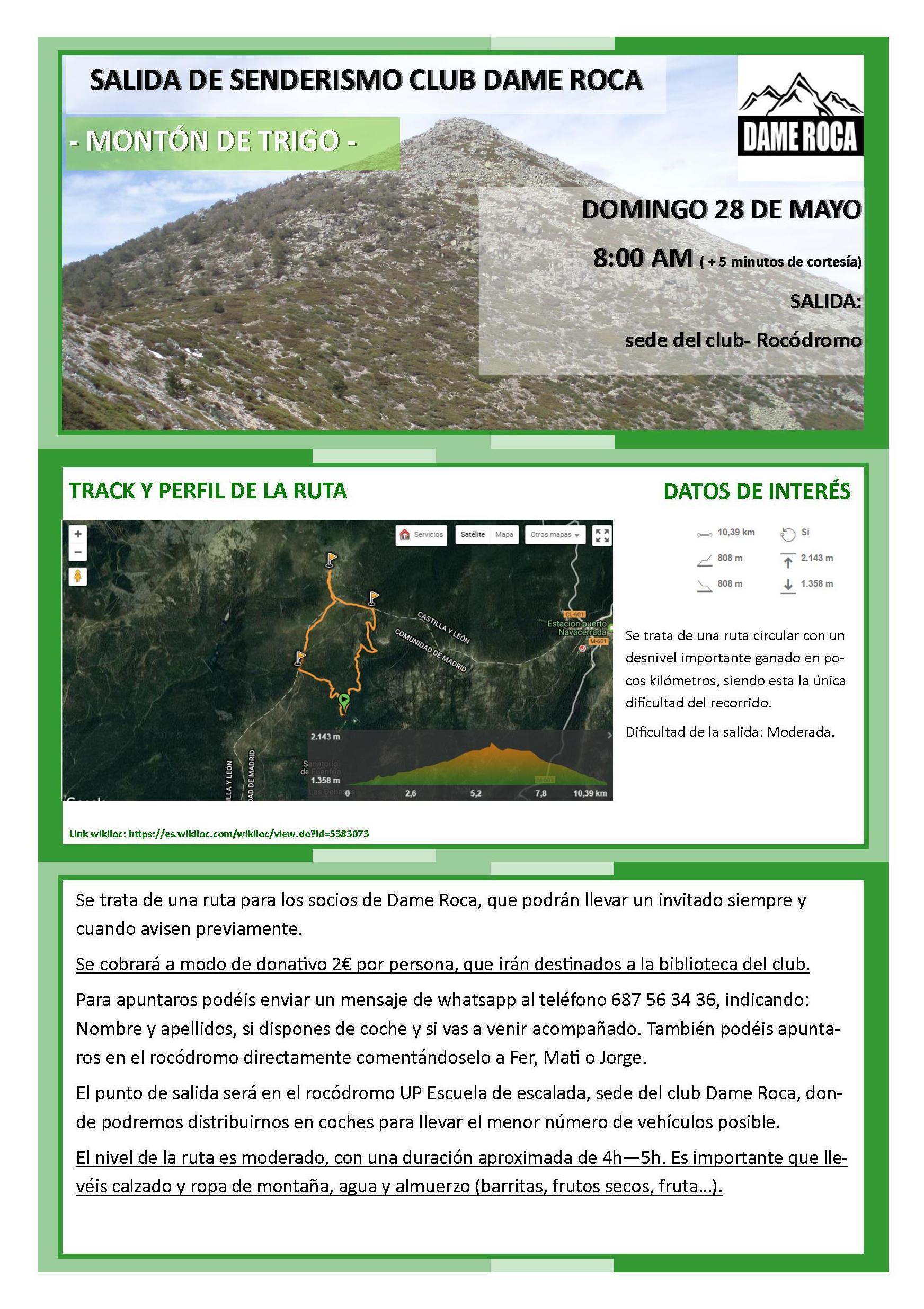 Cartel Salida Senderismo Club de Montaña Dame Roca