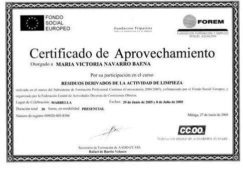 Certificado de residuos de limpieza