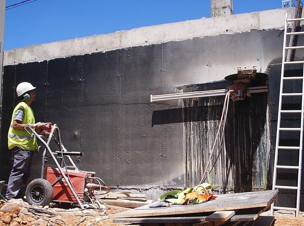 Cortes de muro de cemento