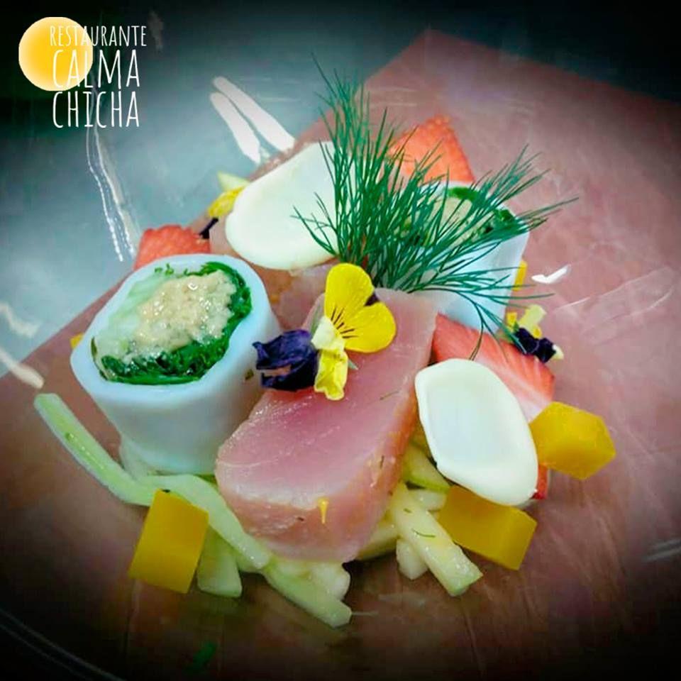 Marinated tuna with orange, ginger and herbs