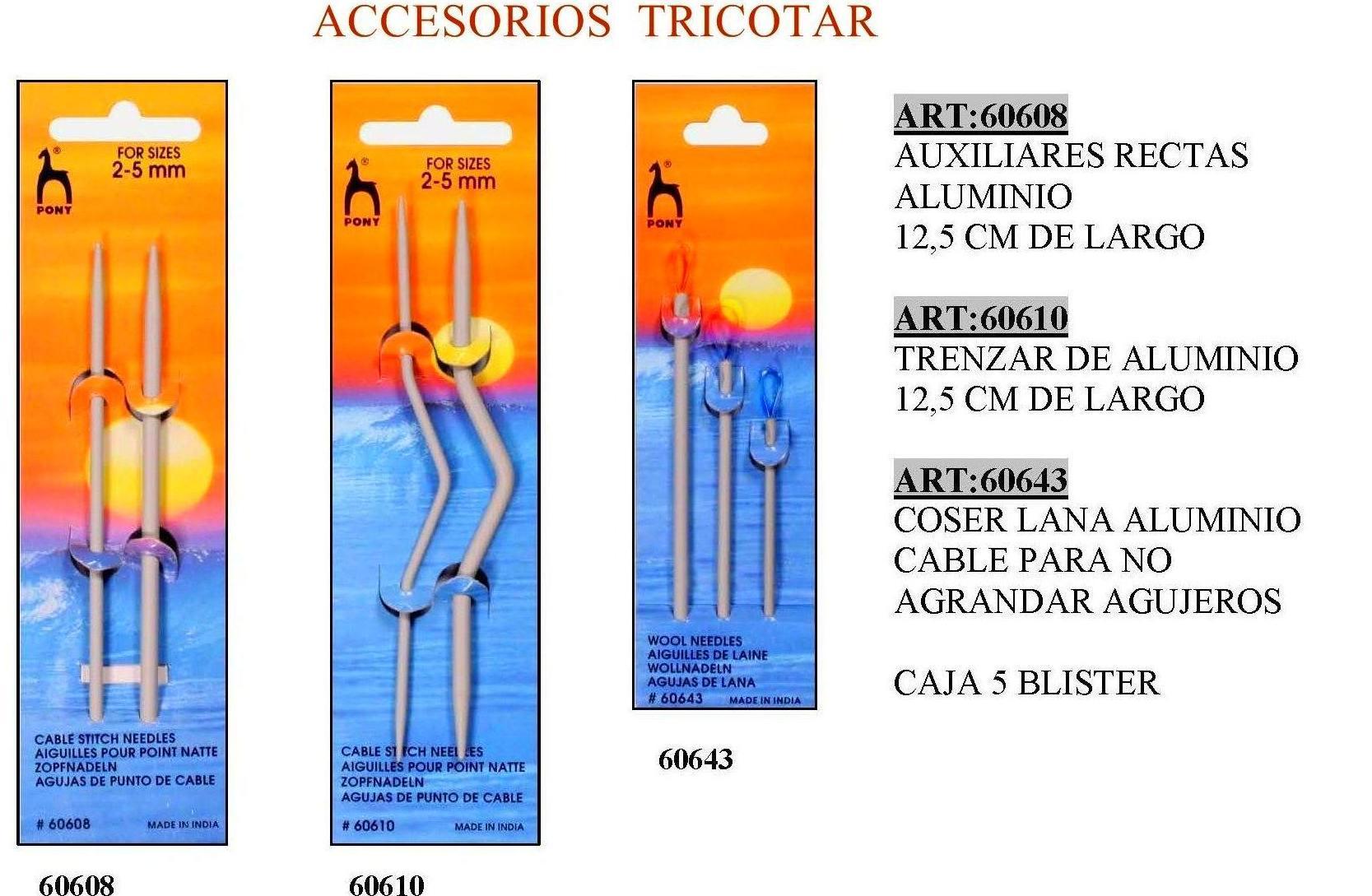 ACCESORIOS TRICOTAR ALUMINIO